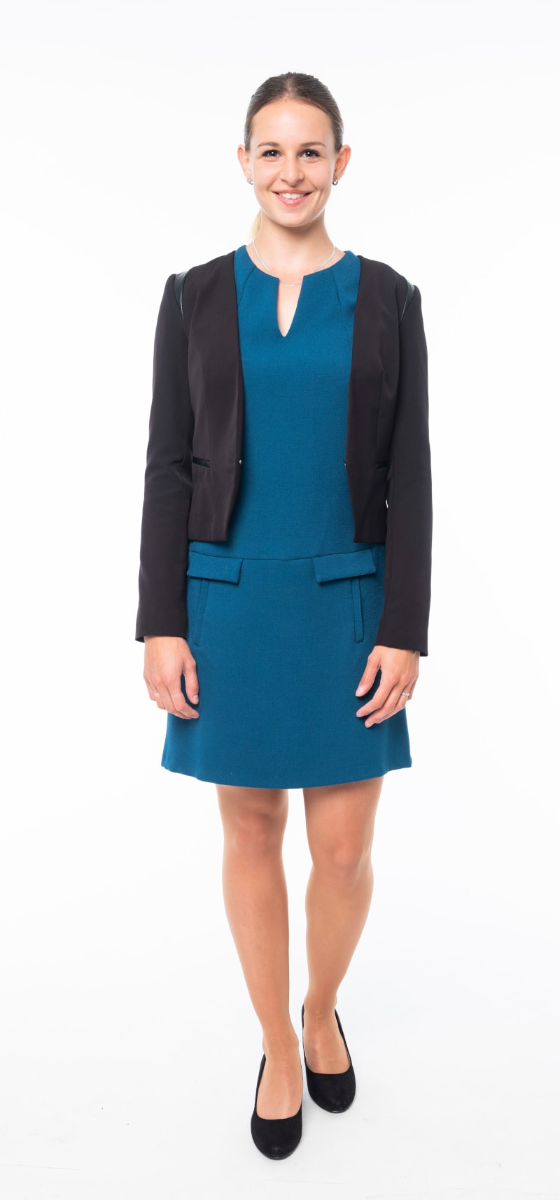 Robe bleue veste noire