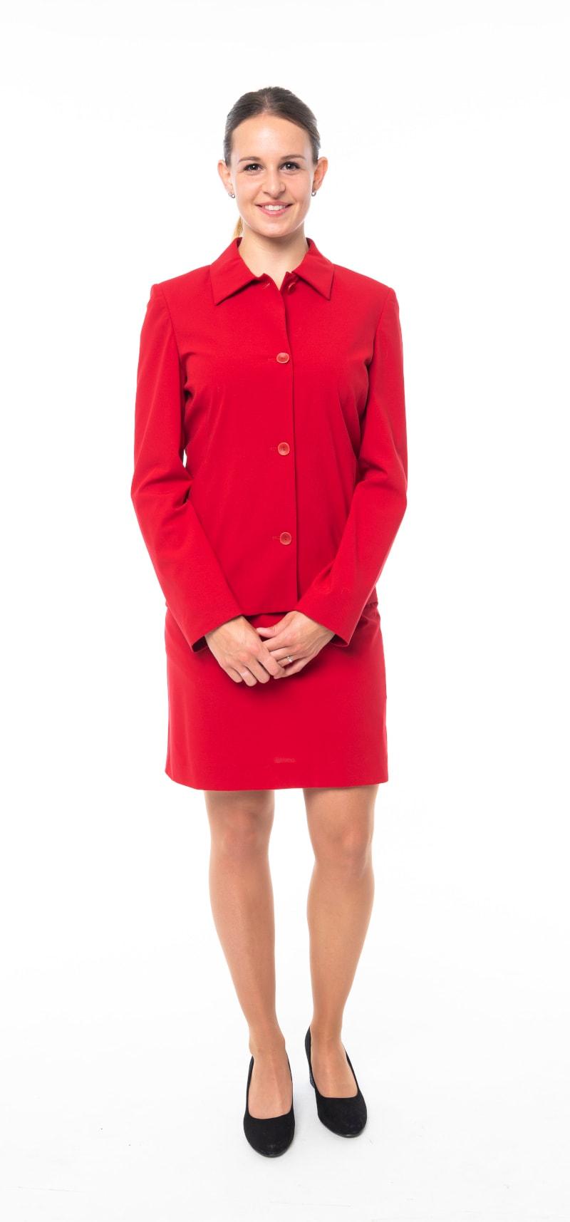 Tailleur rouge veste fermée