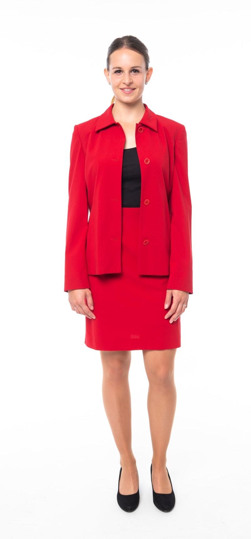 Tailleur rouge veste ouverte